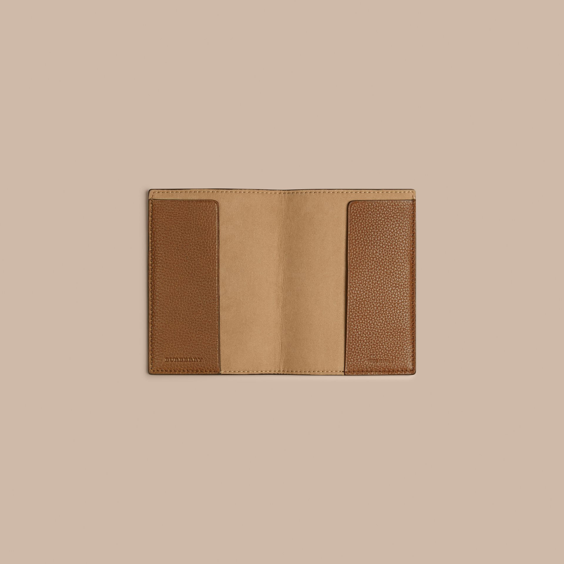 Grainy Leather Passport Cover in Tan | Burberry Australia - gallery image 3