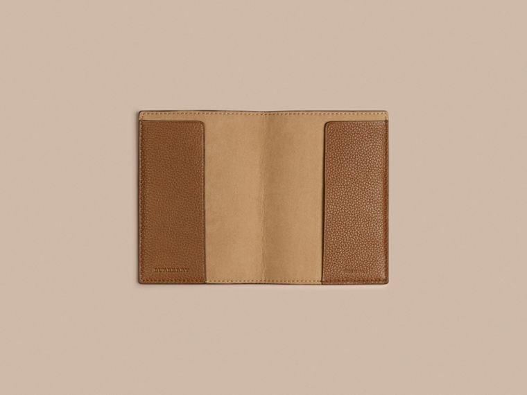 Grainy Leather Passport Cover in Tan | Burberry - cell image 2