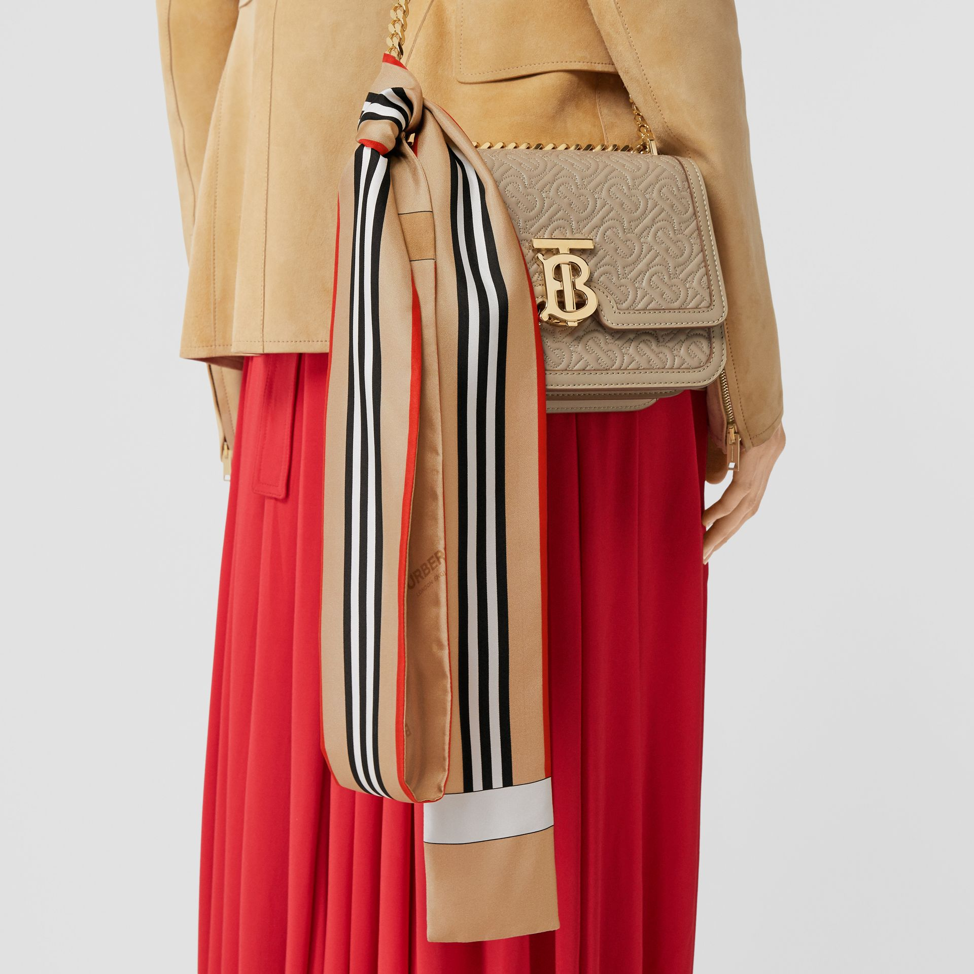 Icon Stripe Print Silk Skinny Scarf in Archive Beige | Burberry - gallery image 2