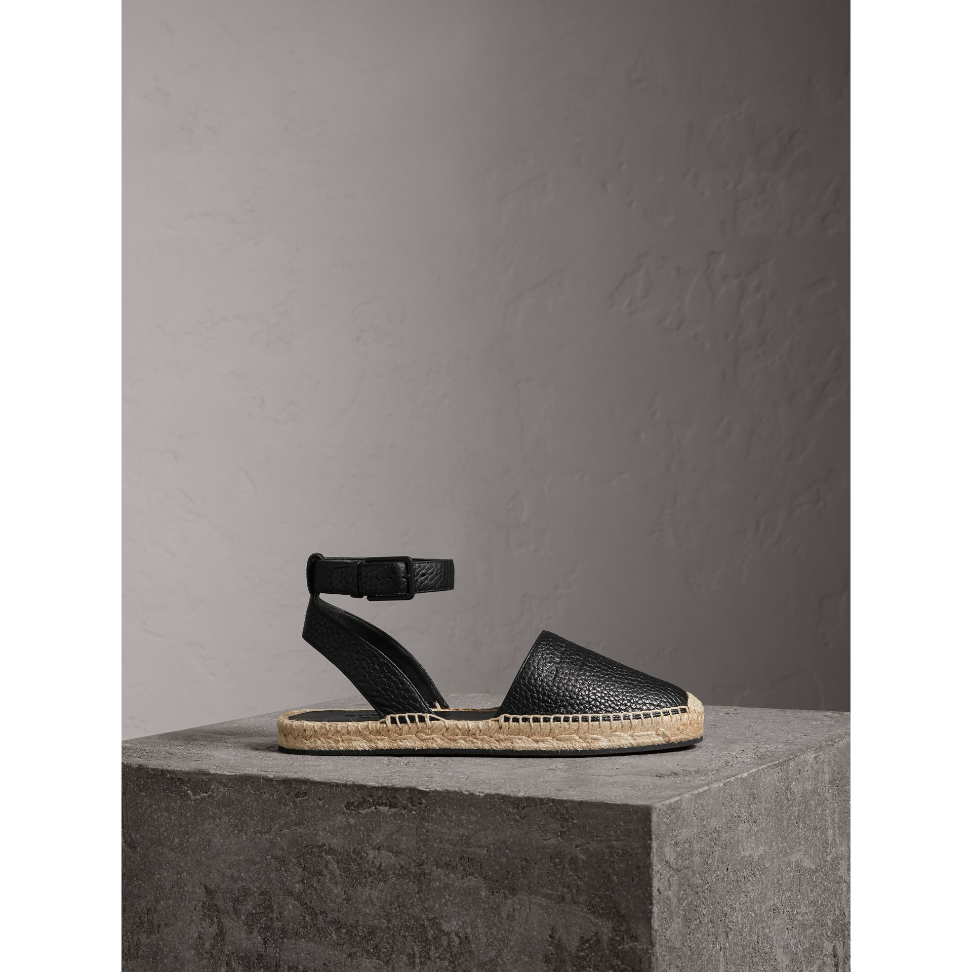 Embossed Grainy Leather Espadrille Sandals in Black - Women | Burberry - gallery image 3