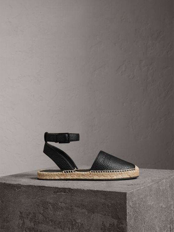 Embossed Grainy Leather Espadrille Sandals in Black - Women | Burberry United States - cell image 3