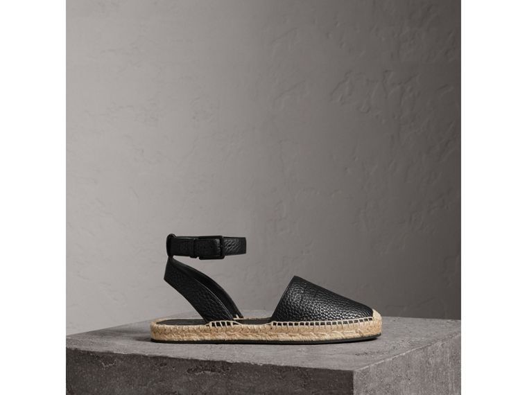 Embossed Grainy Leather Espadrille Sandals in Black - Women | Burberry Canada - cell image 4