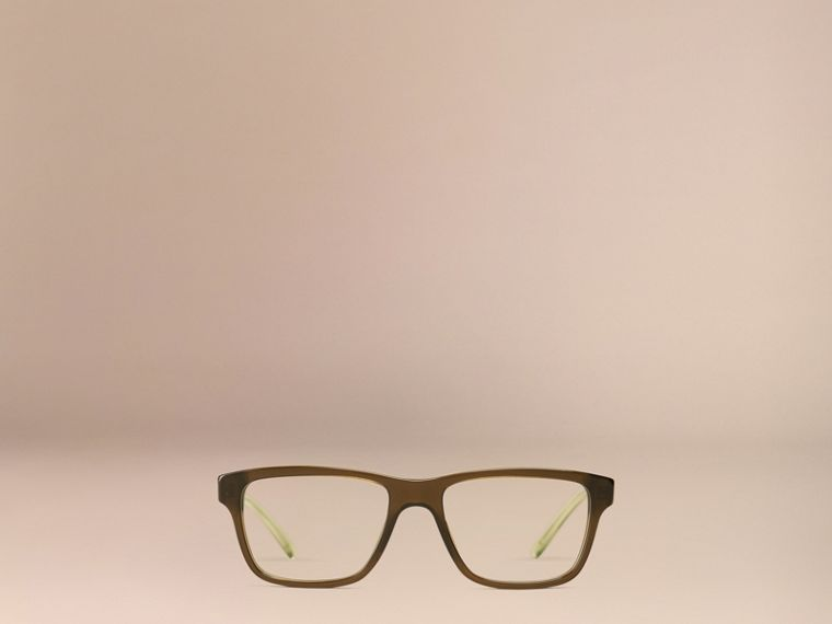 Olive Check Detail Rectangular Optical Frames Olive - cell image 4
