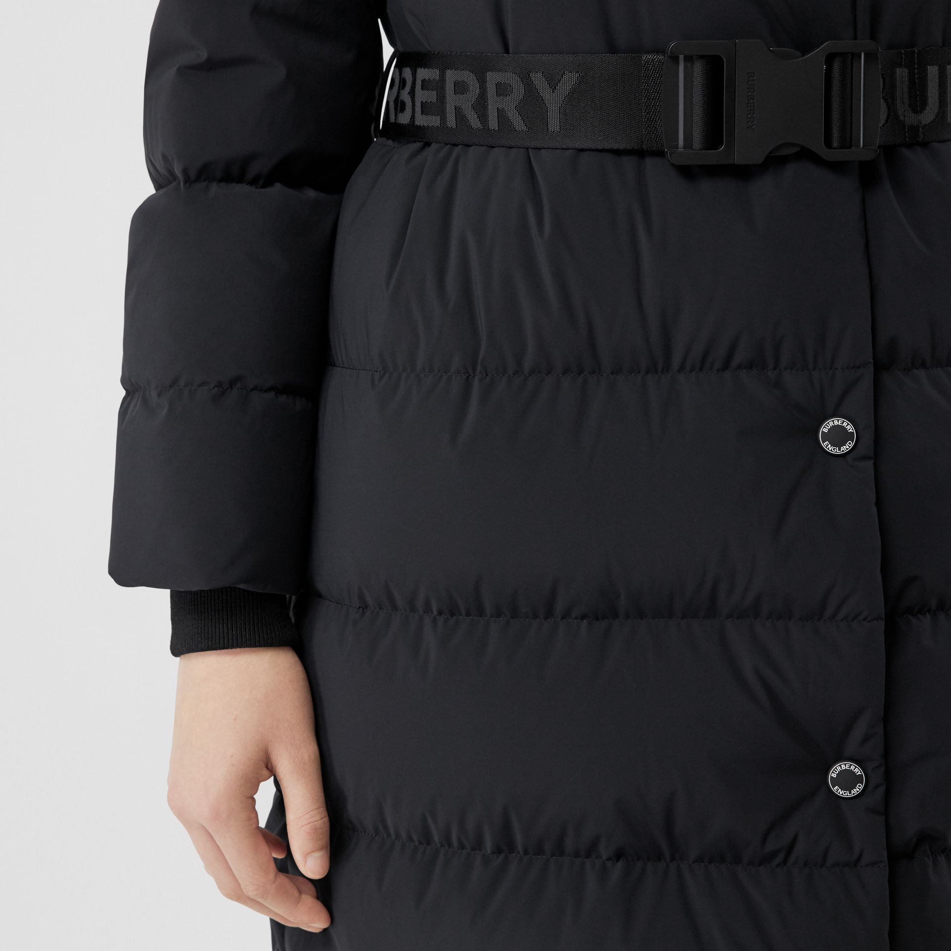 Detachable Hood Belted Puffer Coat in Black - Women | Burberry - gallery image 5