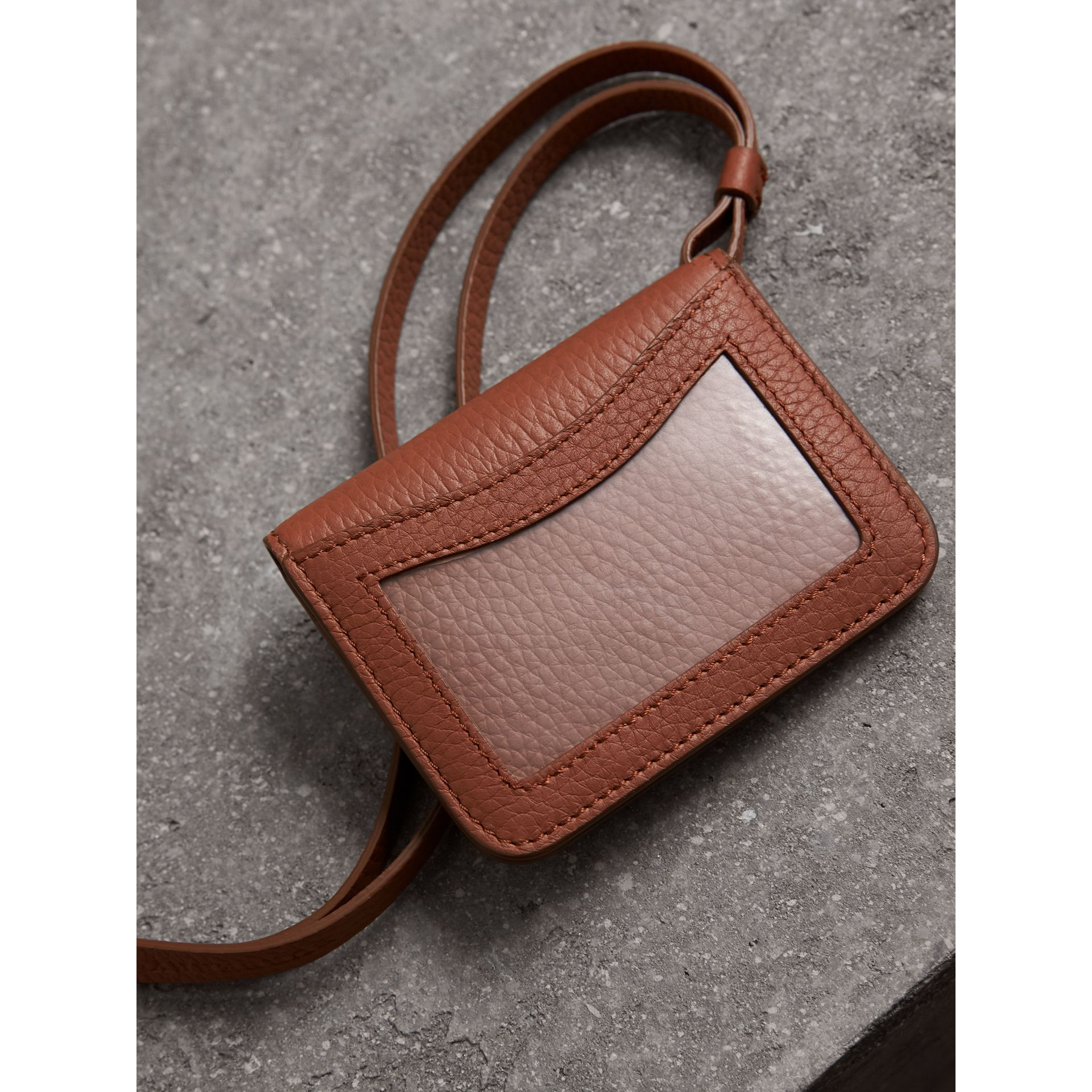 Embossed Leather ID Card Case Charm in Chestnut Brown - Women | Burberry - gallery image 3