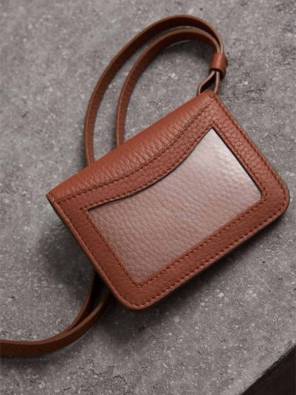 Embossed Leather ID Card Case Charm in Chestnut Brown | Burberry - cell image 2
