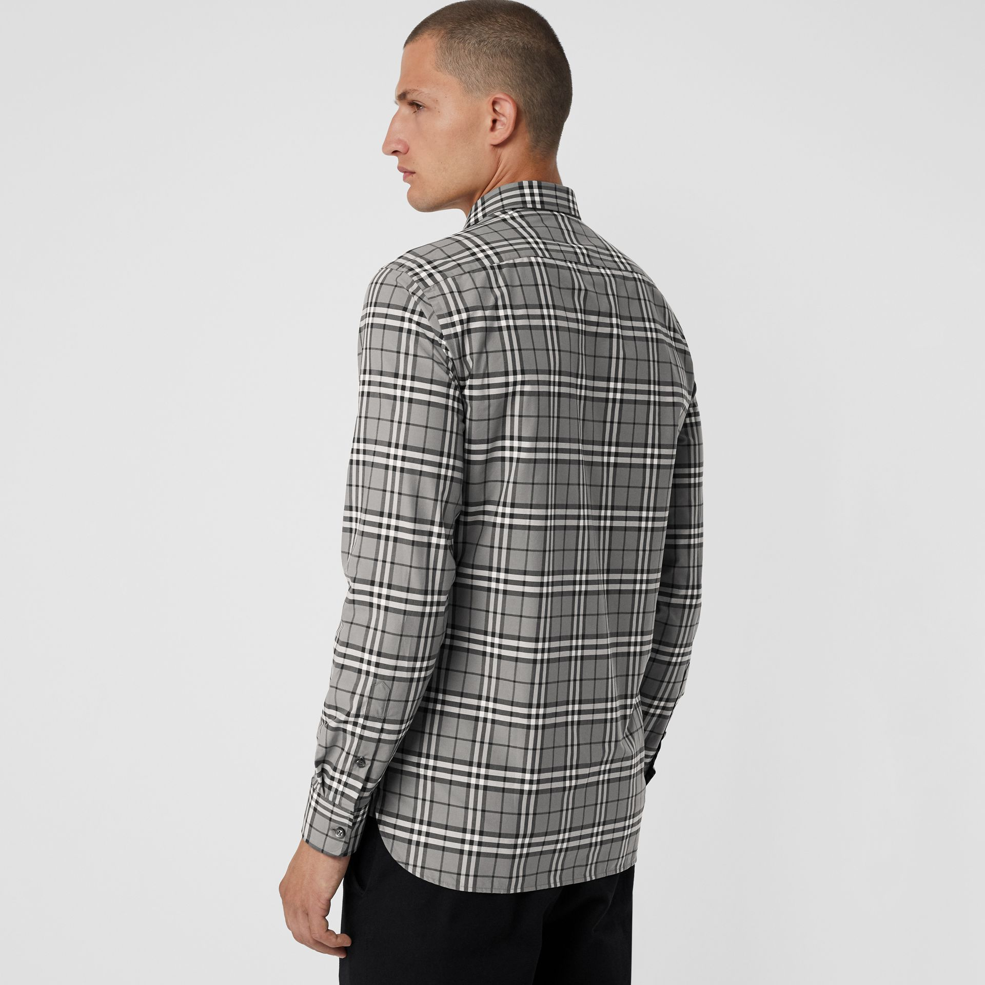 Check Cotton Shirt in Charcoal - Men | Burberry - gallery image 2