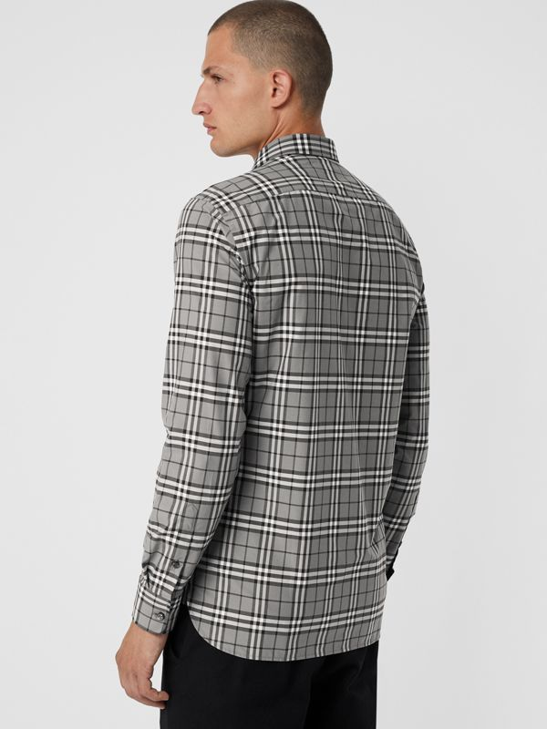 Check Cotton Shirt in Charcoal - Men | Burberry - cell image 2