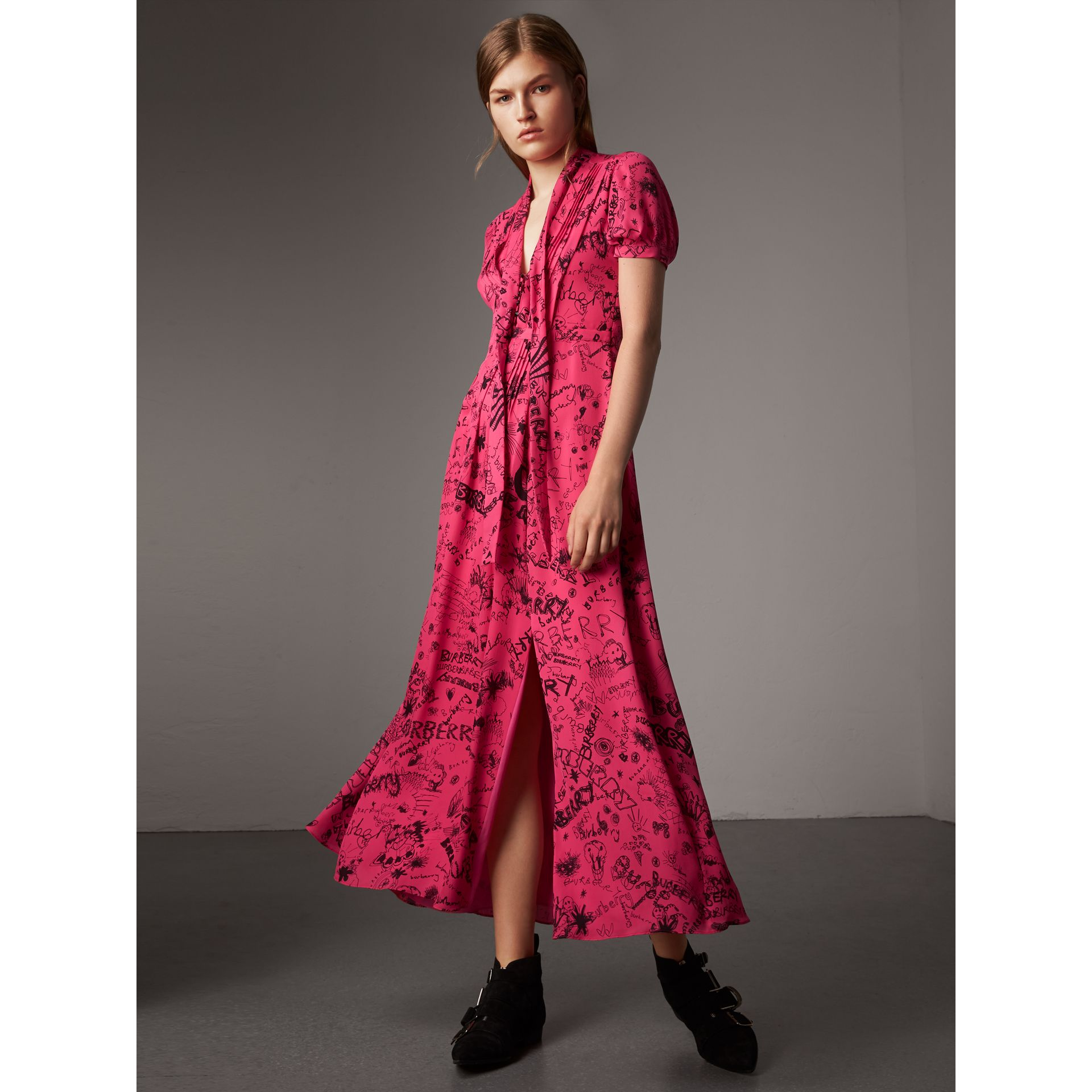 Doodle Print Silk Tie-neck Dress in Fluro Pink - Women | Burberry - gallery image 0