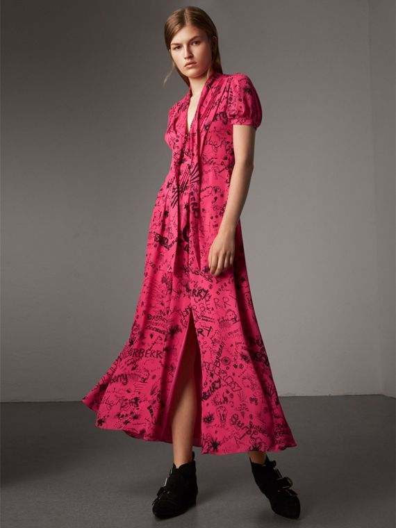 Doodle Print Silk Tie-neck Dress in Fluro Pink