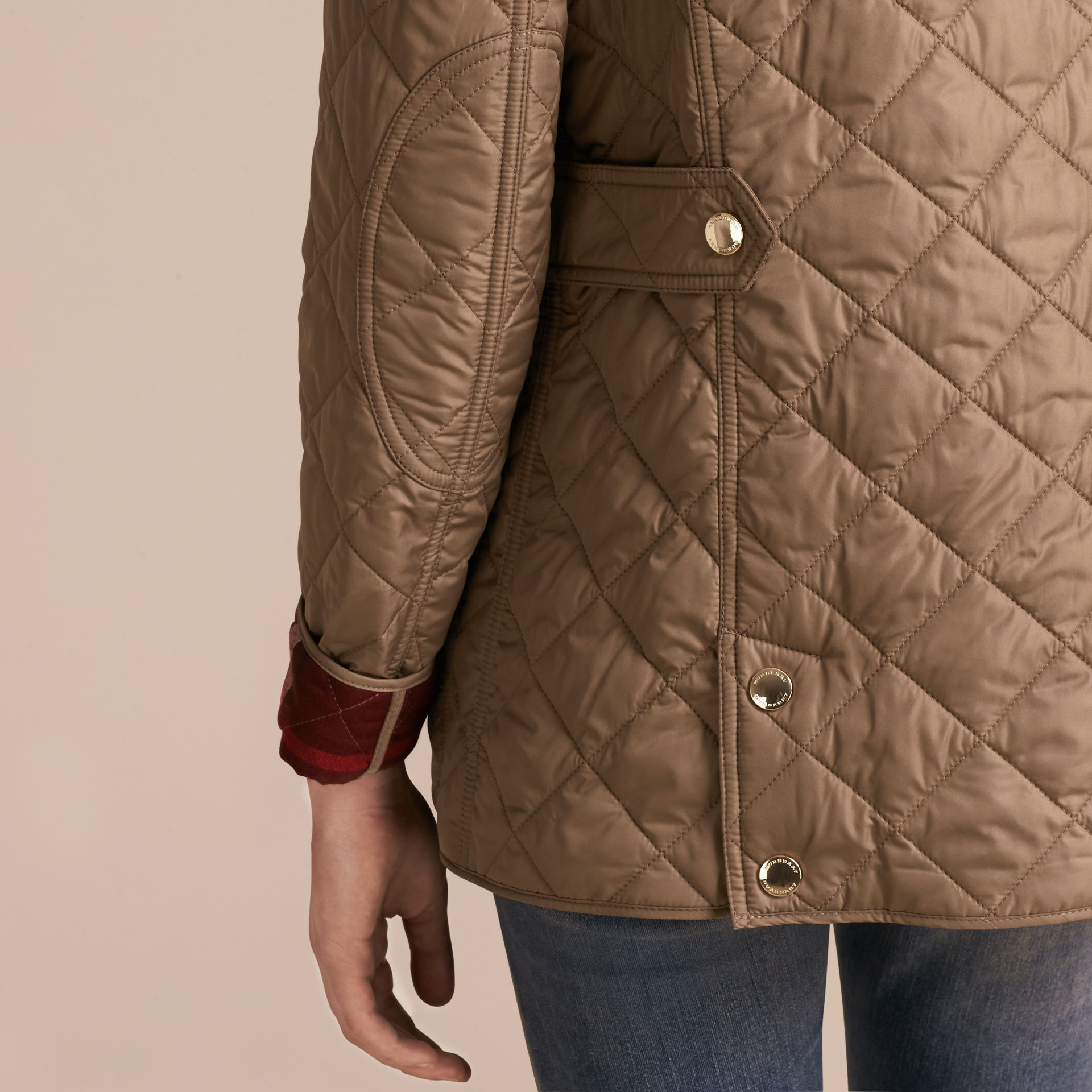 Mid taupe Check Lined Diamond Quilted Jacket Mid Taupe - gallery image 6