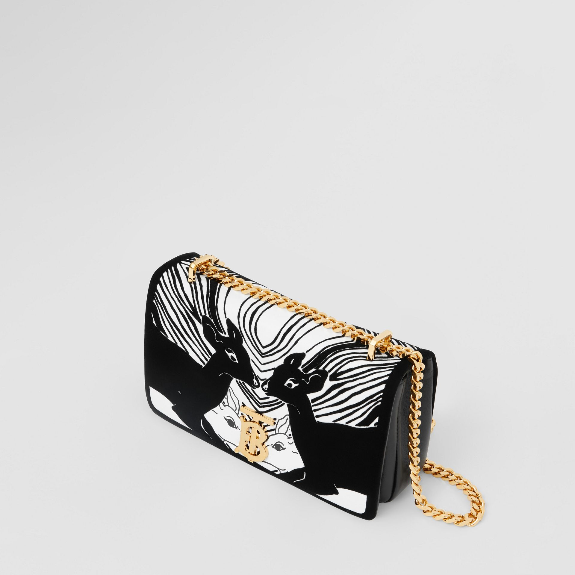 Small Deer Flock Leather Lola Bag in Black/white - Women | Burberry - gallery image 3