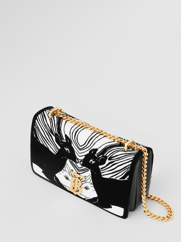 Small Deer Flock Leather Lola Bag in Black/white - Women | Burberry - cell image 3