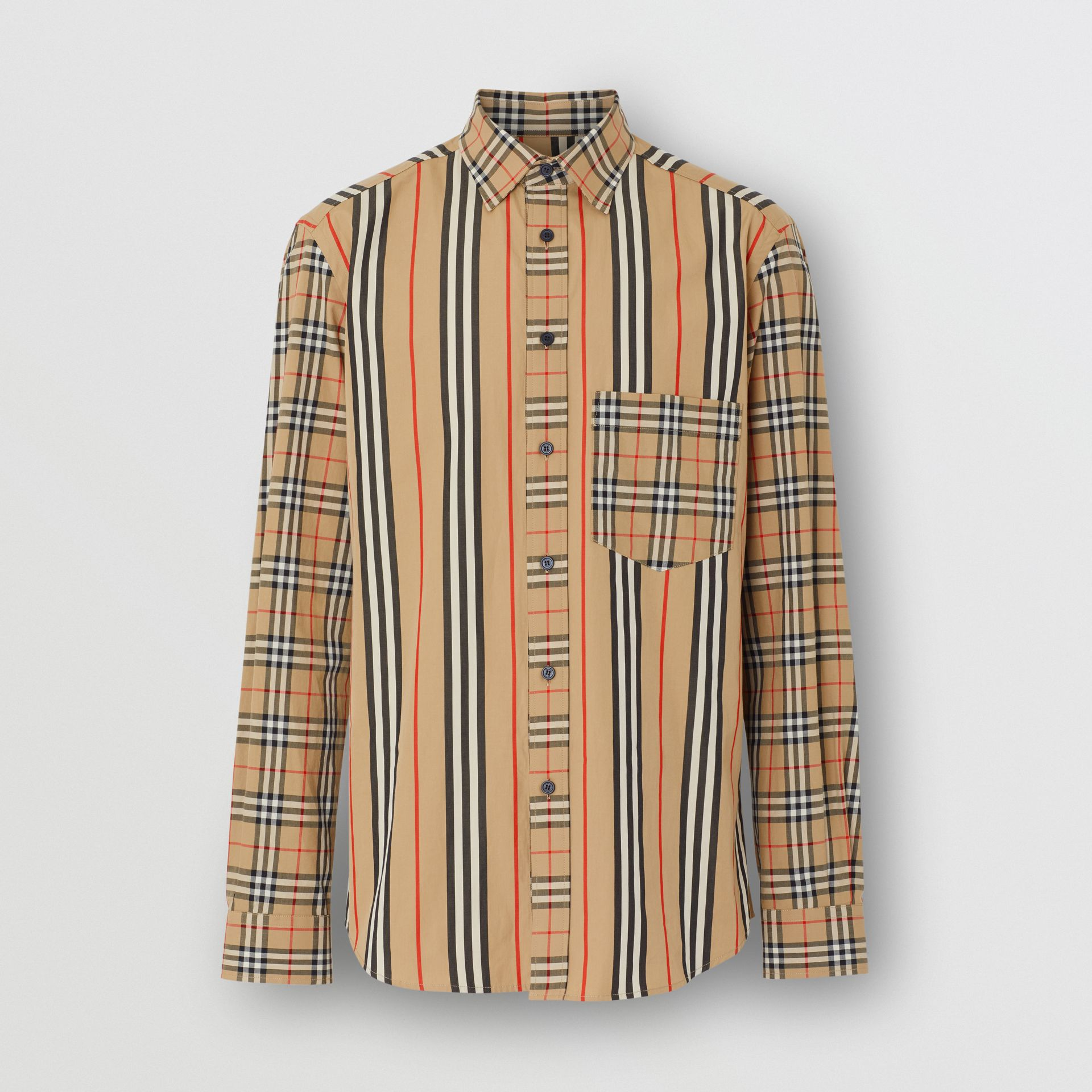 Classic Fit Patchwork Cotton Poplin Shirt in Archive Beige - Men | Burberry United Kingdom - gallery image 3