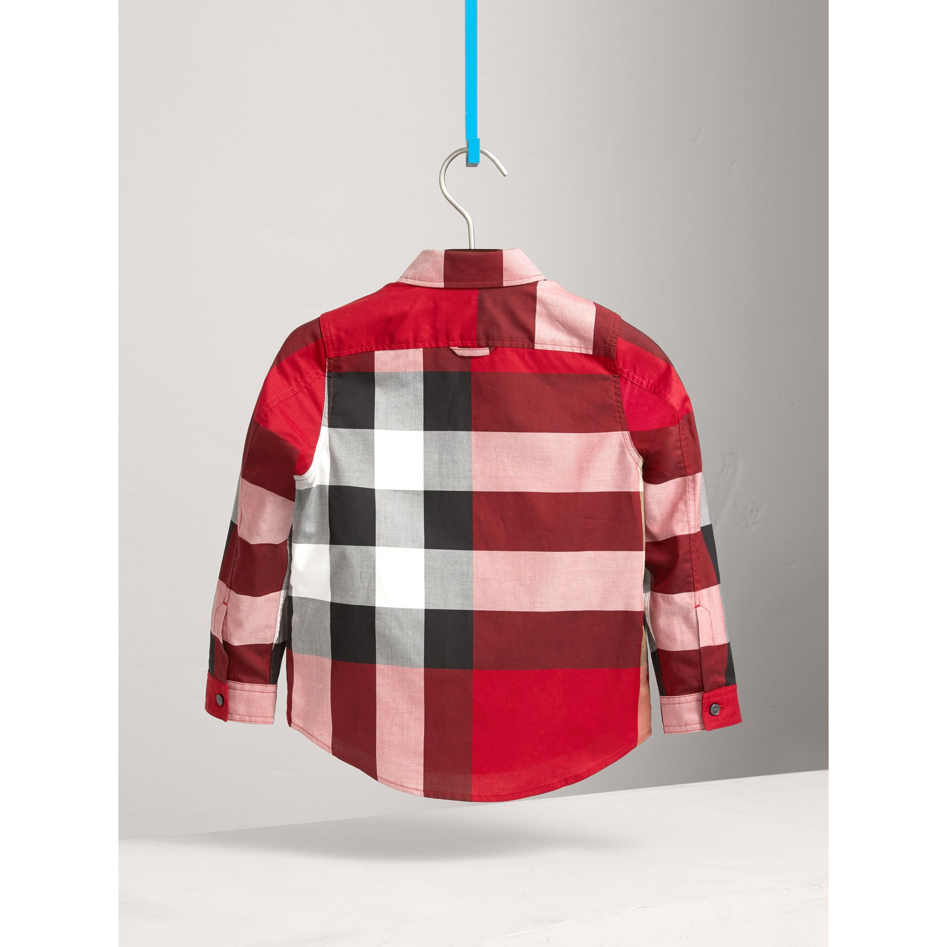 Check Cotton Shirt in Parade Red | Burberry Canada - gallery image 3