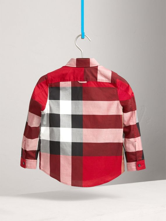 Check Cotton Shirt in Parade Red - Boy | Burberry - cell image 3