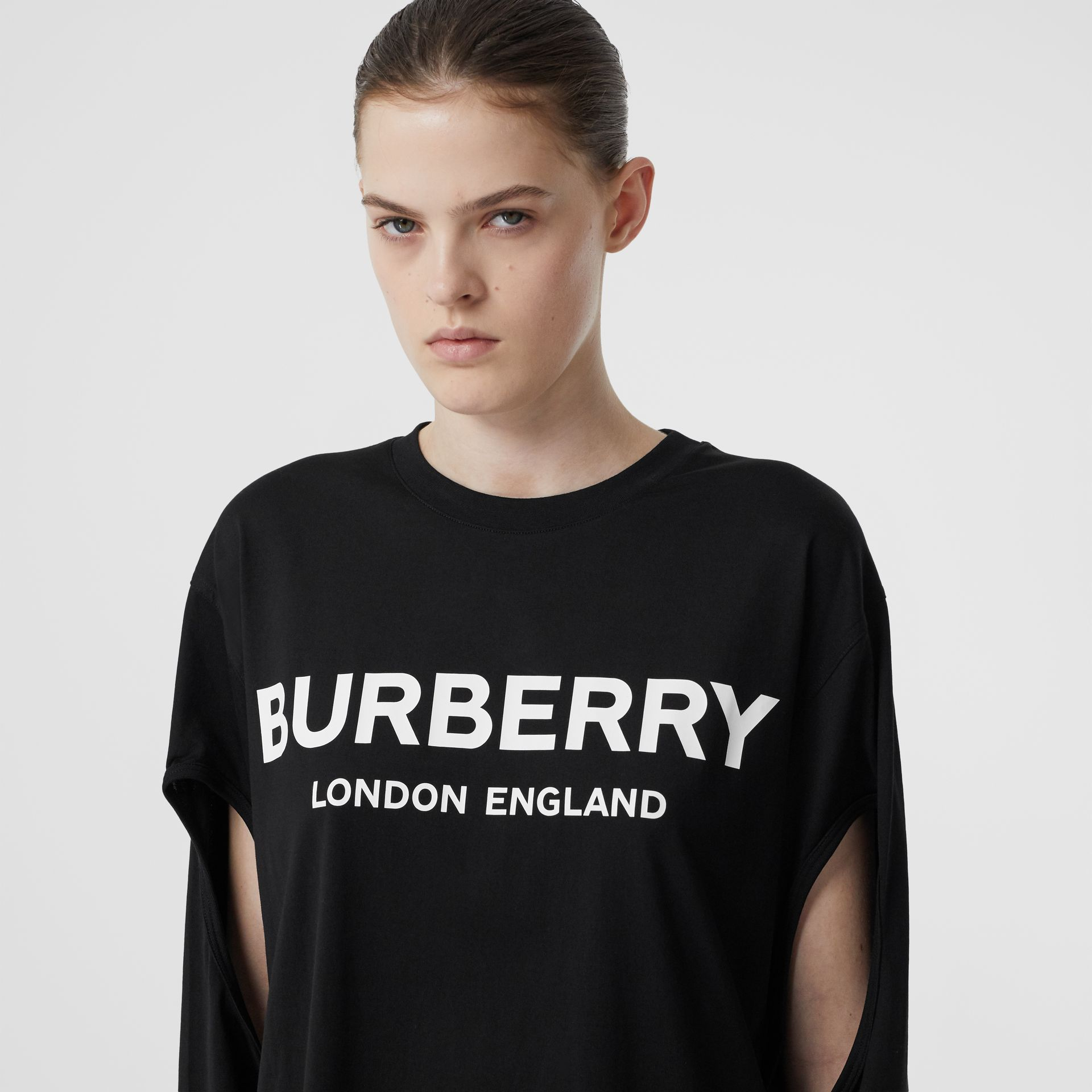 Long-sleeve Logo Print Cotton Oversized Top in Black - Women | Burberry - gallery image 1