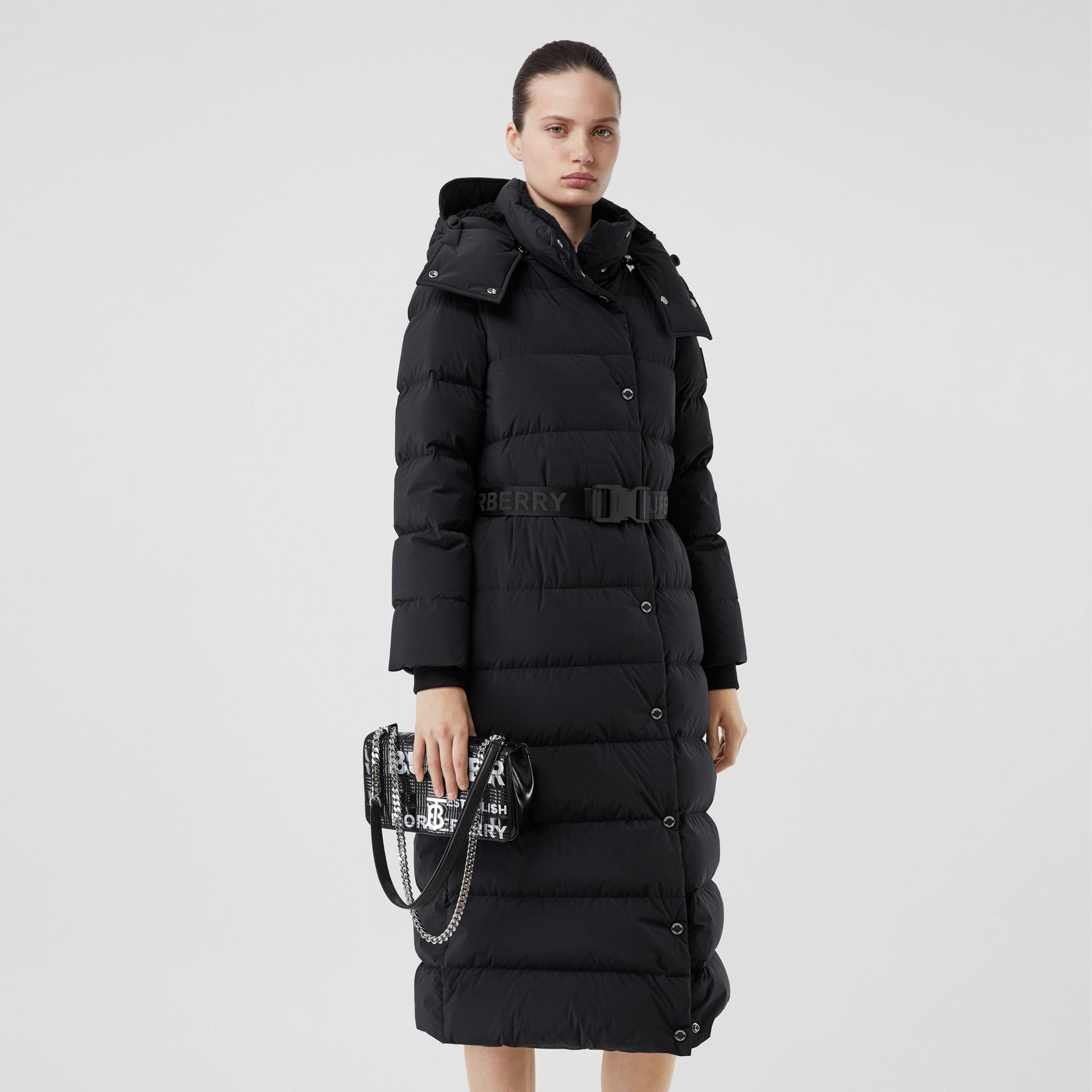 Detachable Hood Belted Puffer Coat in Black - Women | Burberry - gallery image 6