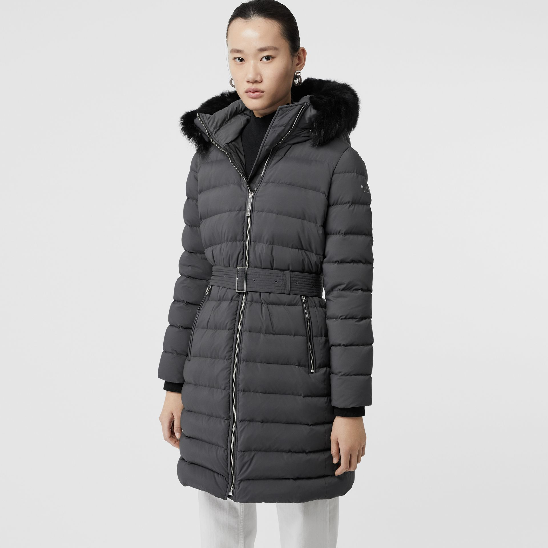 Detachable Shearling Trim Down-filled Puffer Coat in Mid Grey - Women | Burberry - gallery image 6