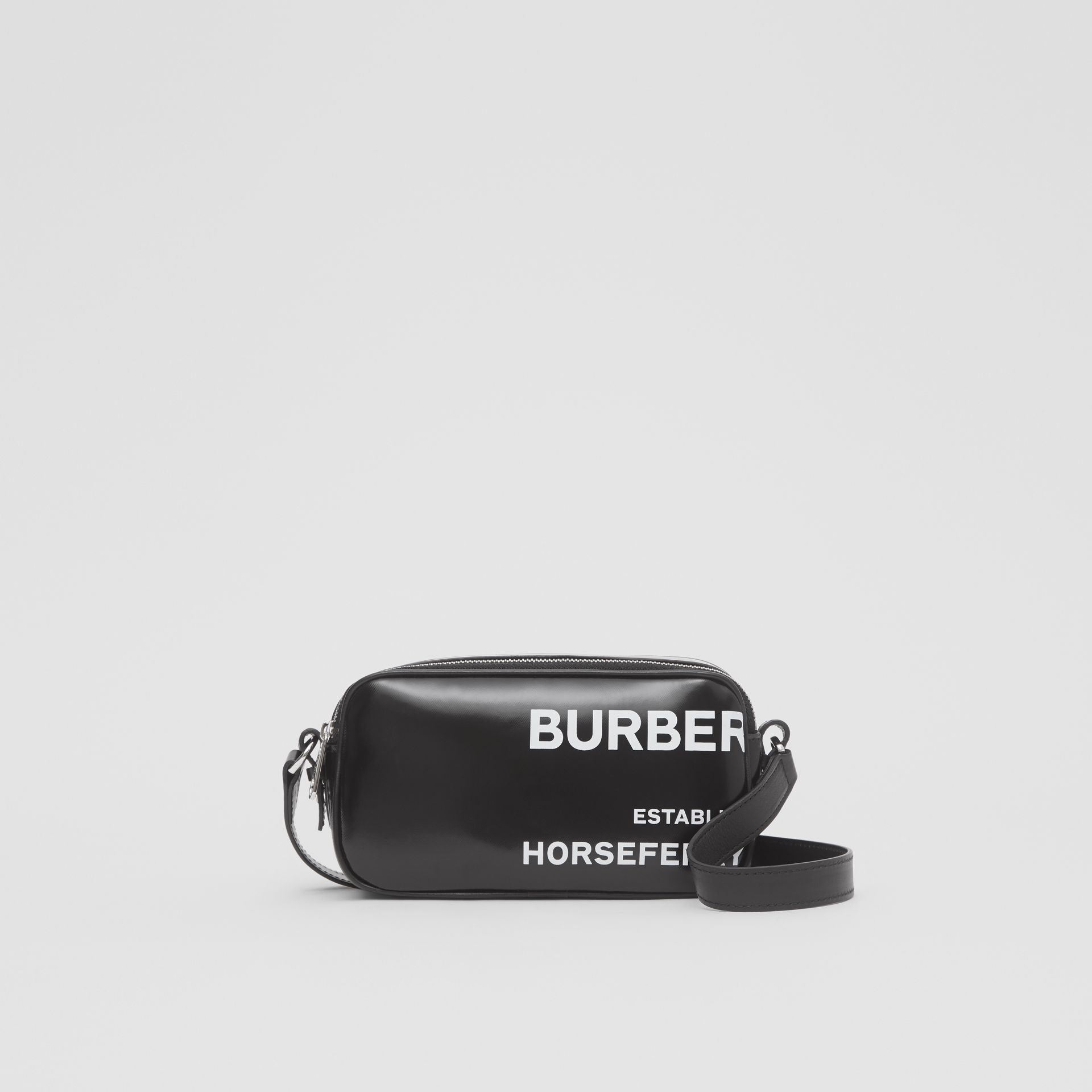 Mini Horseferry Print Coated Canvas Camera Bag in Black | Burberry - gallery image 0