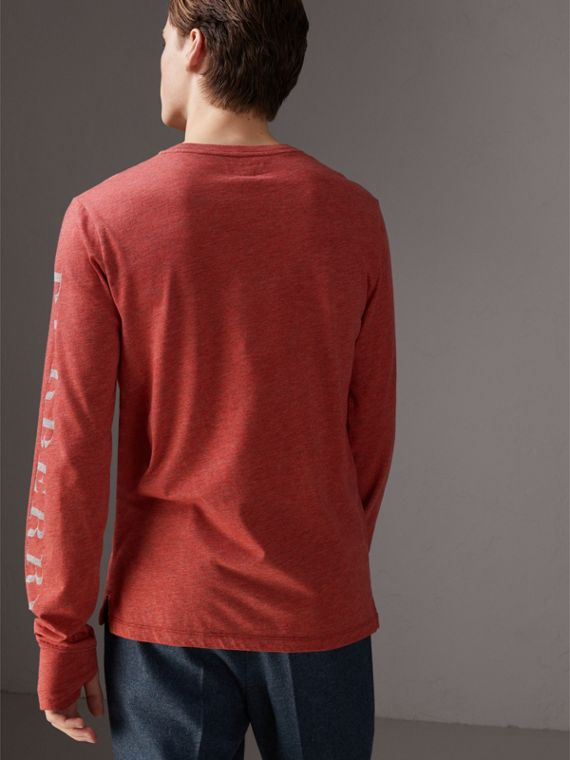 Devoré Jersey Top in Bright Red Melange - Men | Burberry - cell image 2