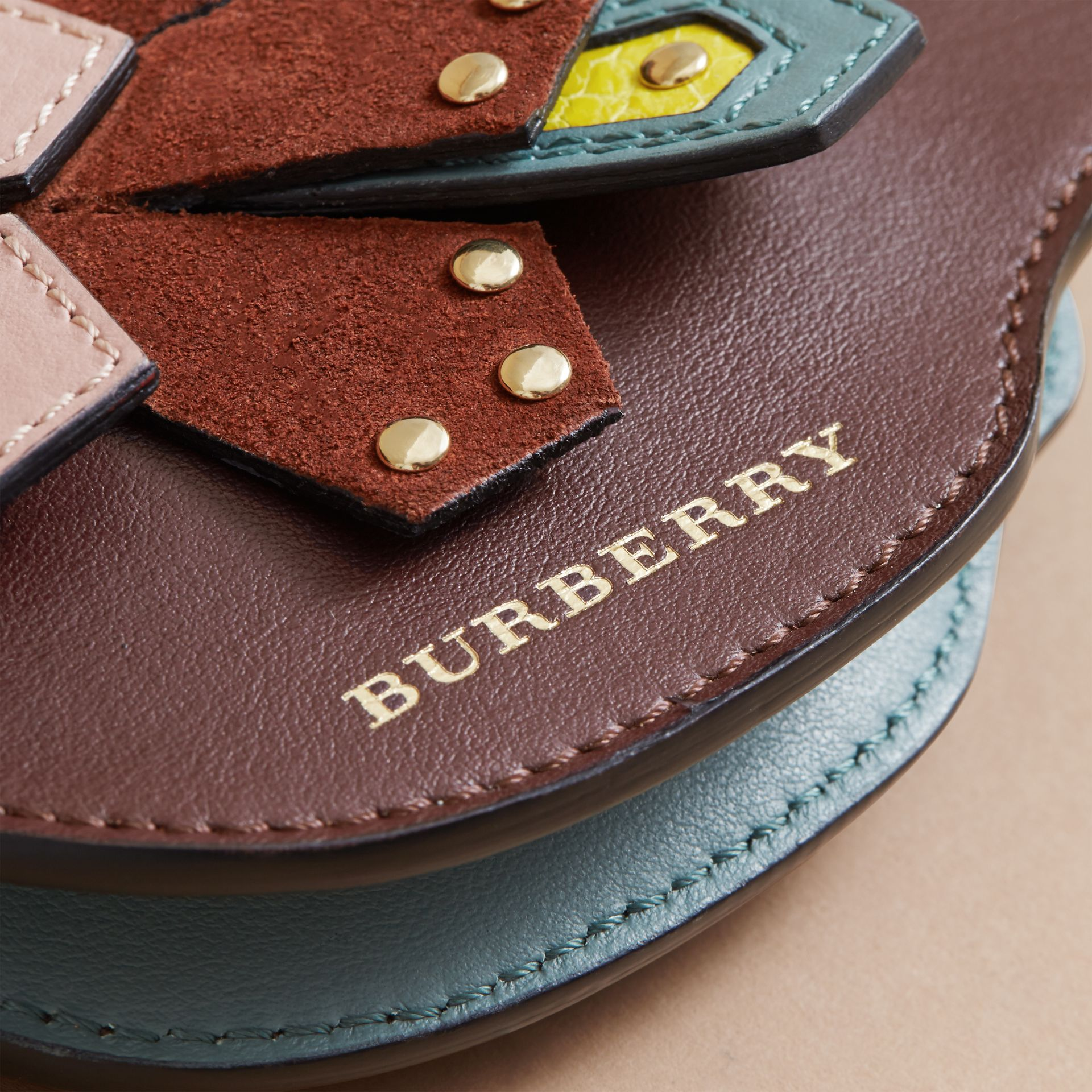 The Falcon – Leather and Haymarket Check Coin Case in Pale Aubergine - Women | Burberry - gallery image 2
