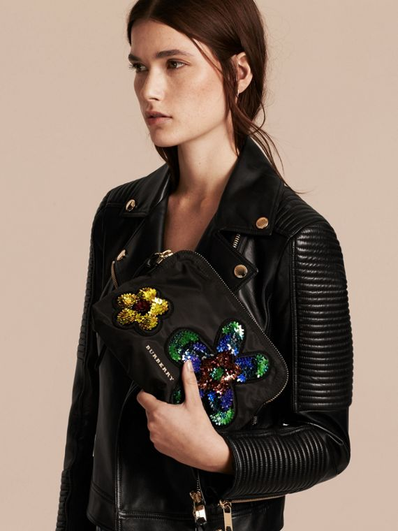 Large Zip-top Floral Embellished Pouch - Women | Burberry - cell image 2