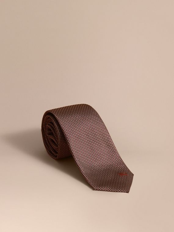 Modern Cut Patterned Silk Tie in Deep Claret