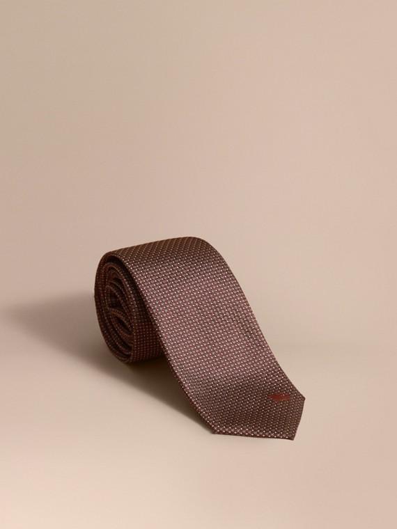 Gravata de seda estampada com corte moderno (Vermelho Claret Escuro)