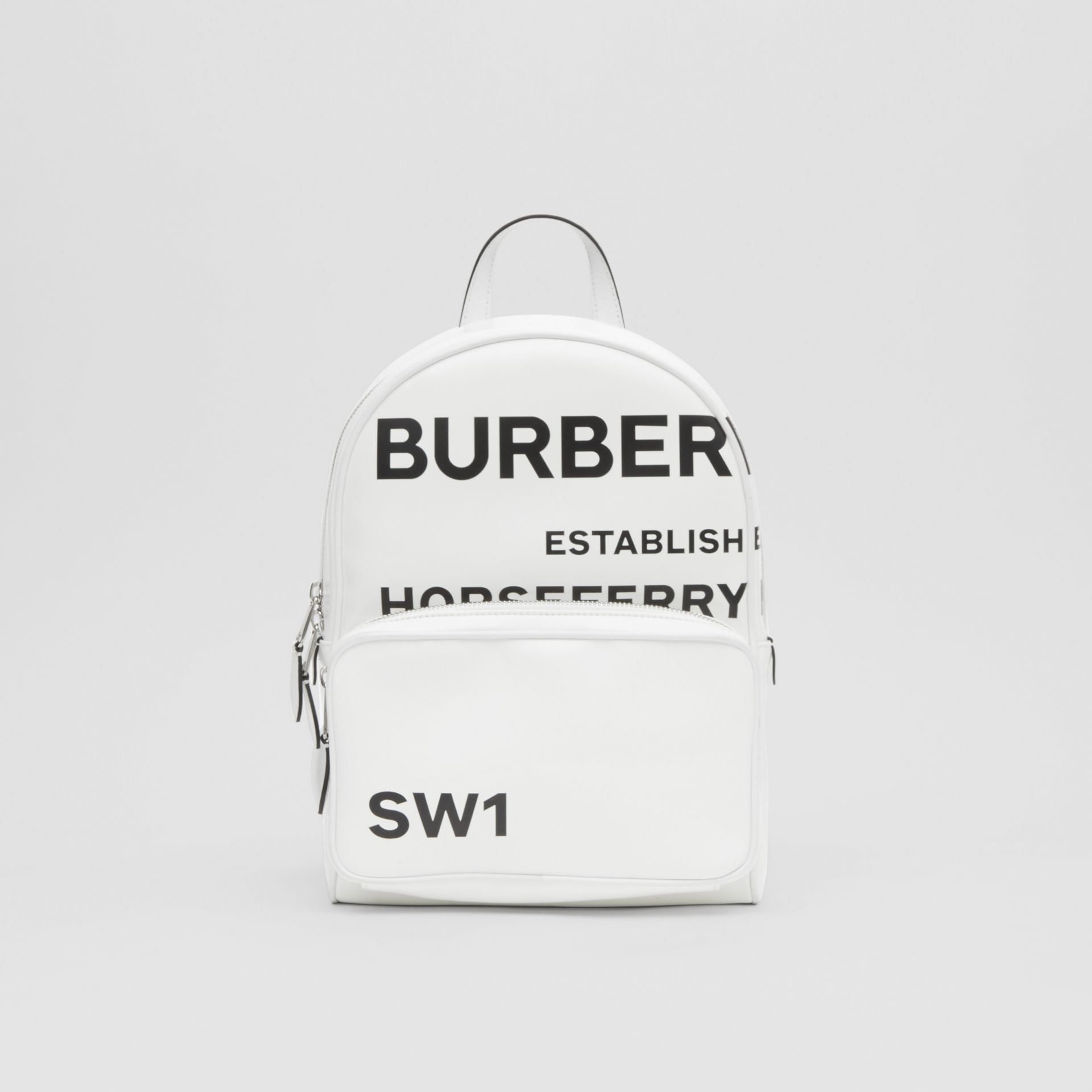 Horseferry Print Coated Canvas Backpack in White | Burberry - gallery image 0