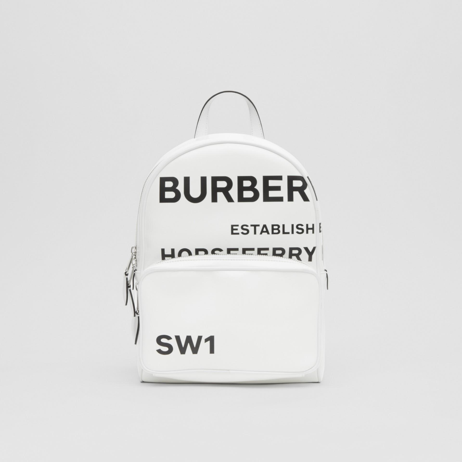 Sac à dos en toile enduite Horseferry (Blanc) | Burberry Canada - photo de la galerie 0
