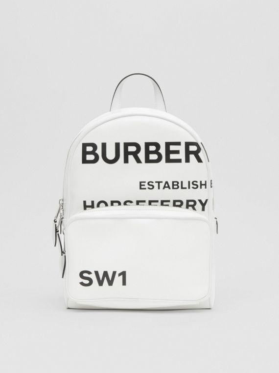 Horseferry Print Coated Canvas Backpack in White
