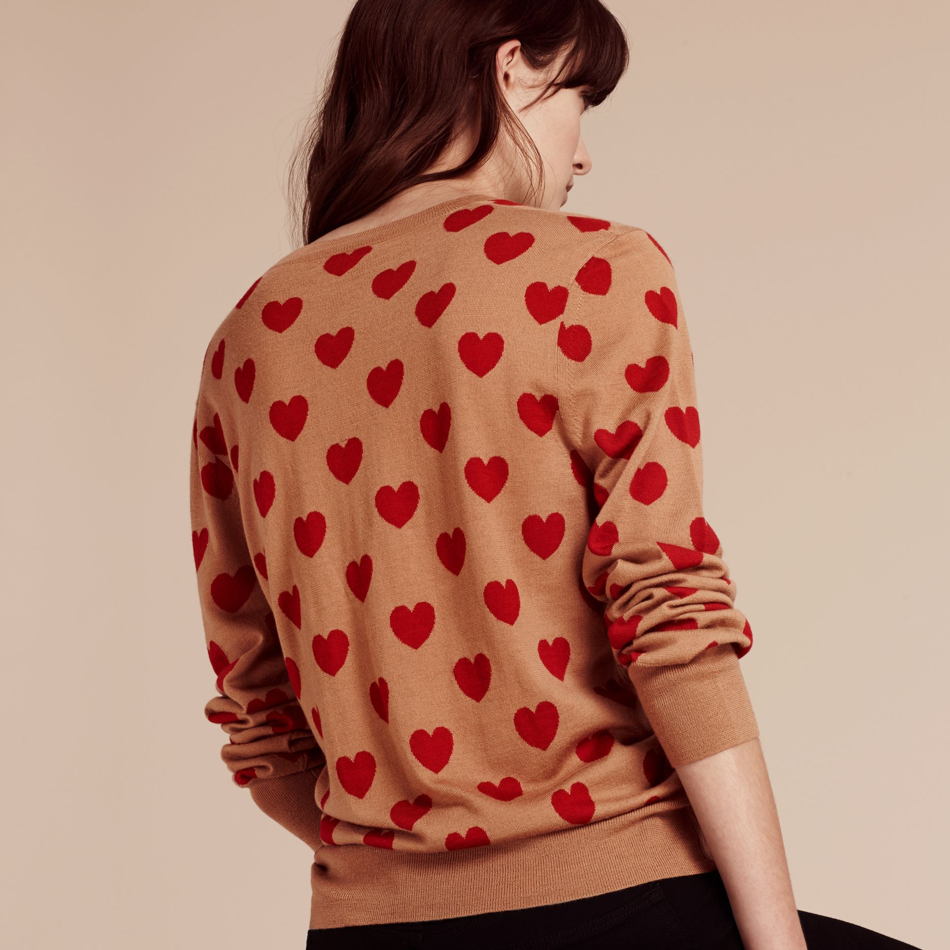 Heart Intarsia Merino Wool Sweater in Camel - Women | Burberry - gallery image 3