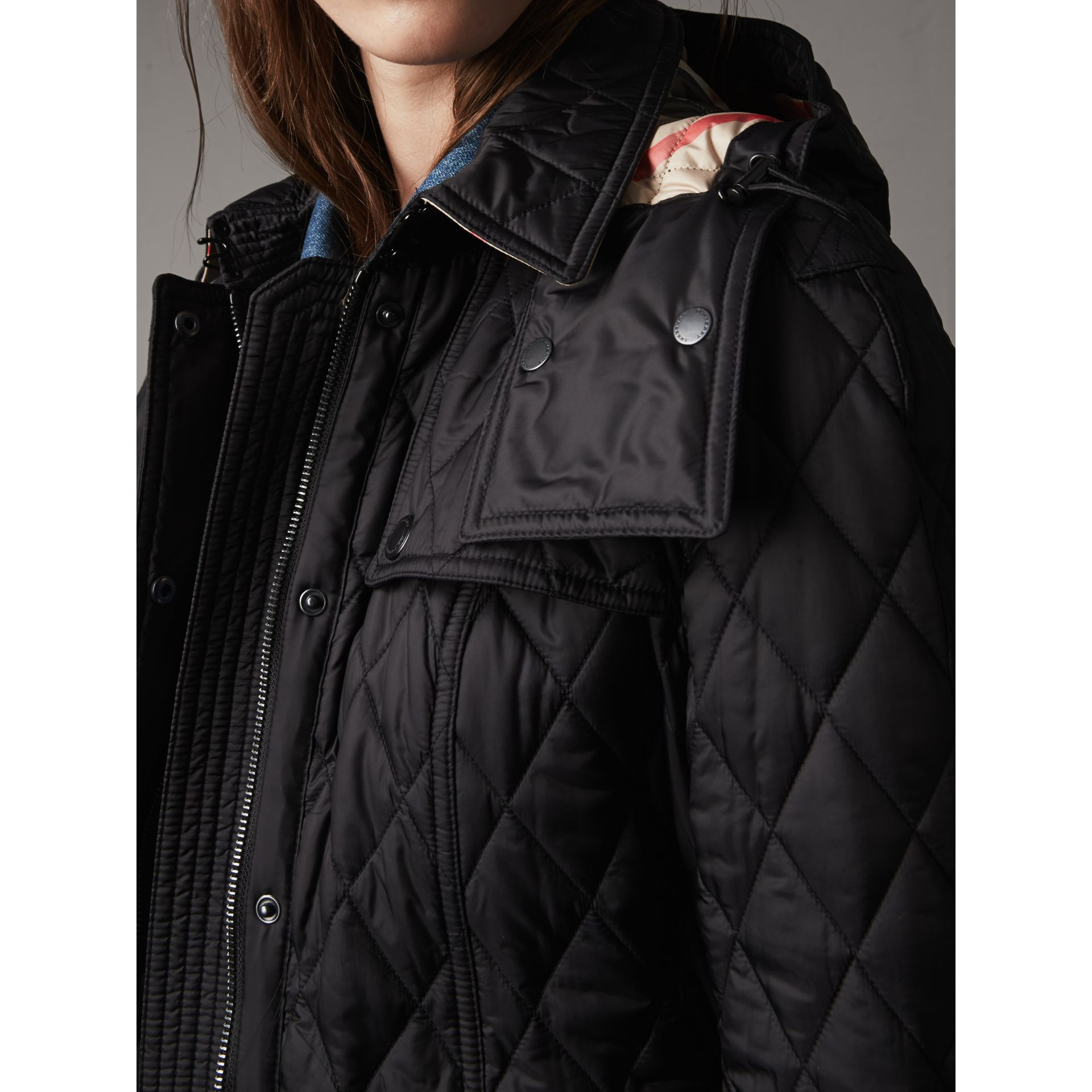 Quilted Trench Jacket with Detachable Hood in Black - Women | Burberry - gallery image 6