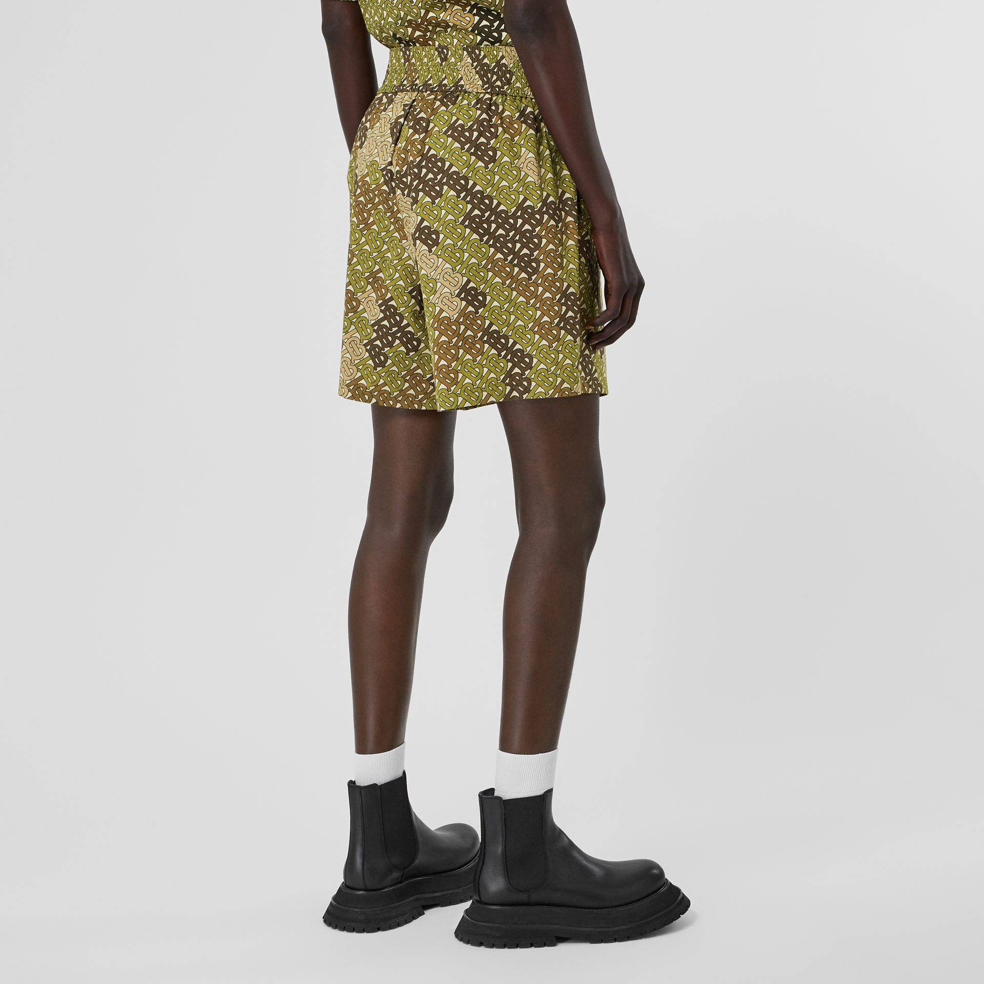 Monogram Print Cotton Poplin Shorts in Khaki Green - Women | Burberry - gallery image 2