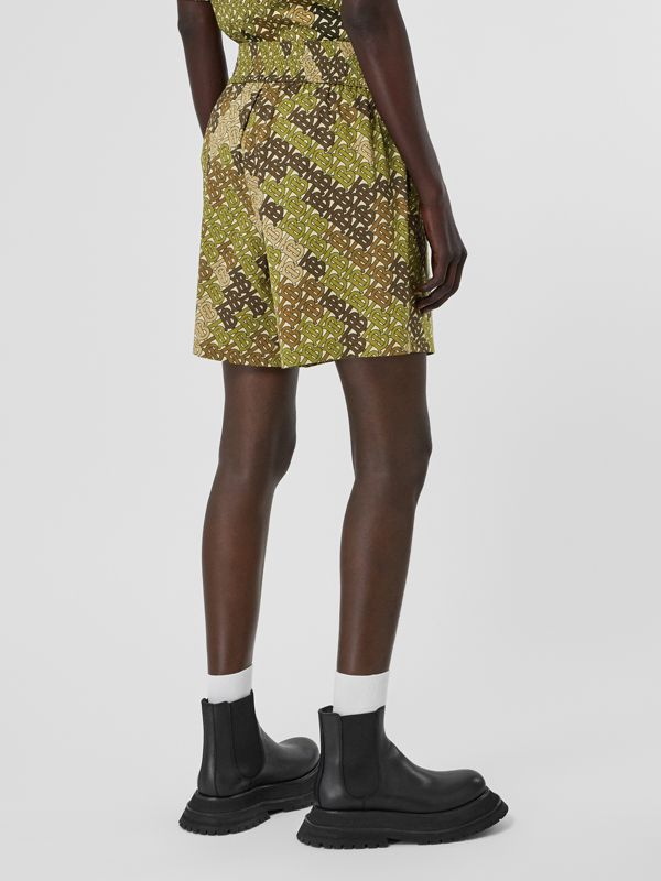 Monogram Print Cotton Poplin Shorts in Khaki Green - Women | Burberry - cell image 2
