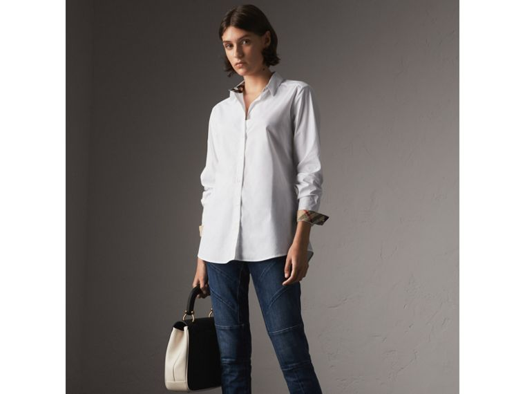 Check Detail Stretch Cotton Shirt in White - Women | Burberry - cell image 4