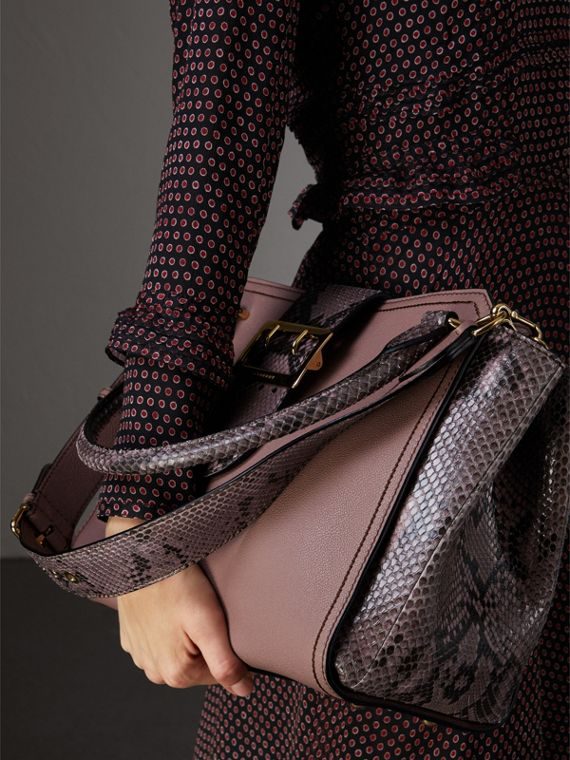 The Medium Buckle Tote in Grainy Leather and Python in Dusty Pink - Women | Burberry - cell image 2