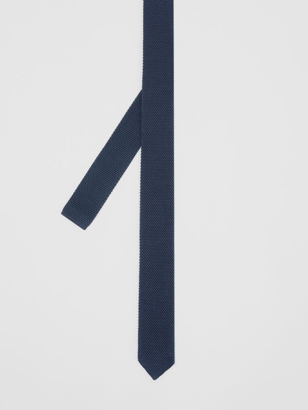 Slim Cut Knit Silk Tie in Navy - Men | Burberry Singapore - cell image 3