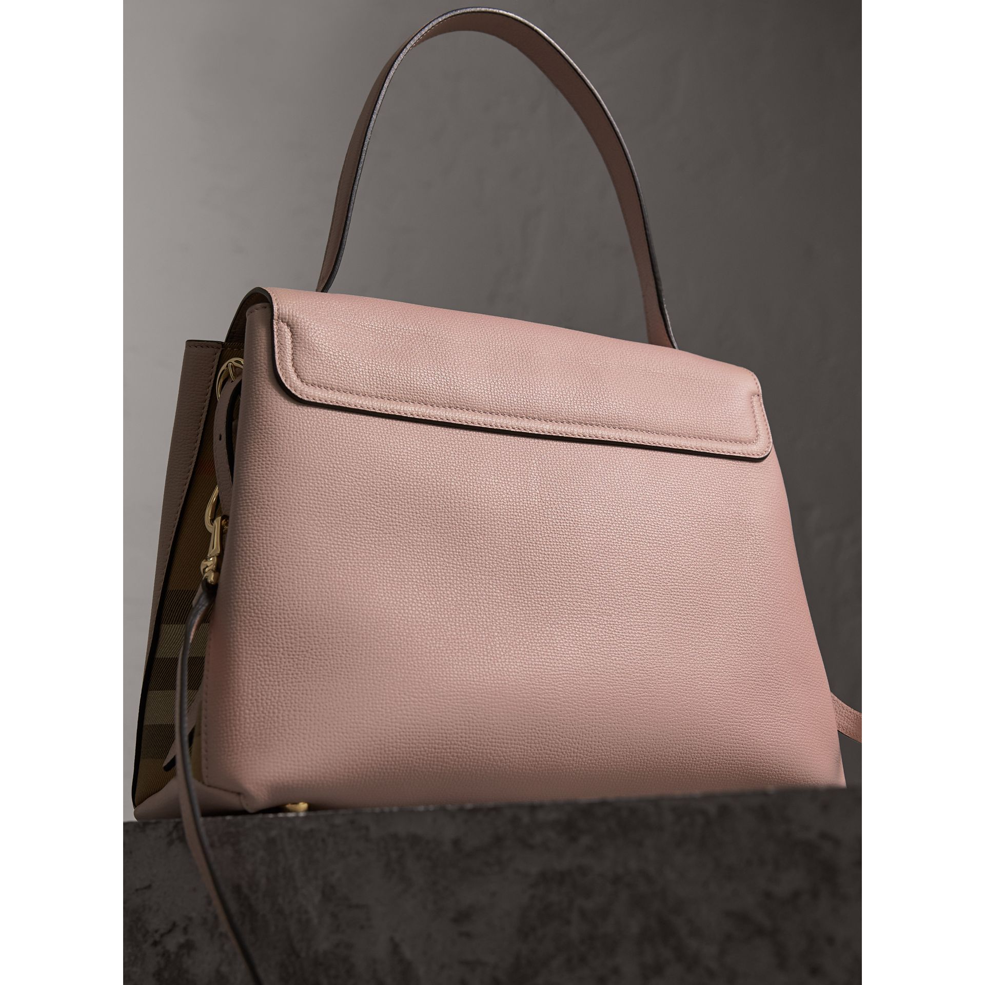 Medium Grainy Leather and House Check Tote Bag in Pale Orchid - Women | Burberry - gallery image 4