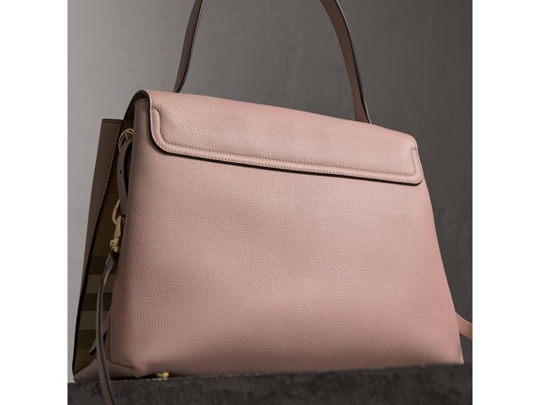 Medium Grainy Leather and House Check Tote Bag in Pale Orchid - Women | Burberry - cell image 4