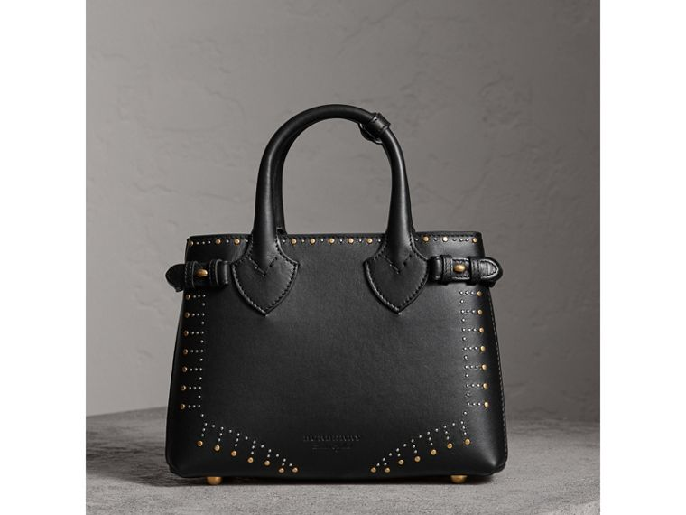 The Small Banner in Riveted Leather in Black - Women | Burberry Australia - cell image 4