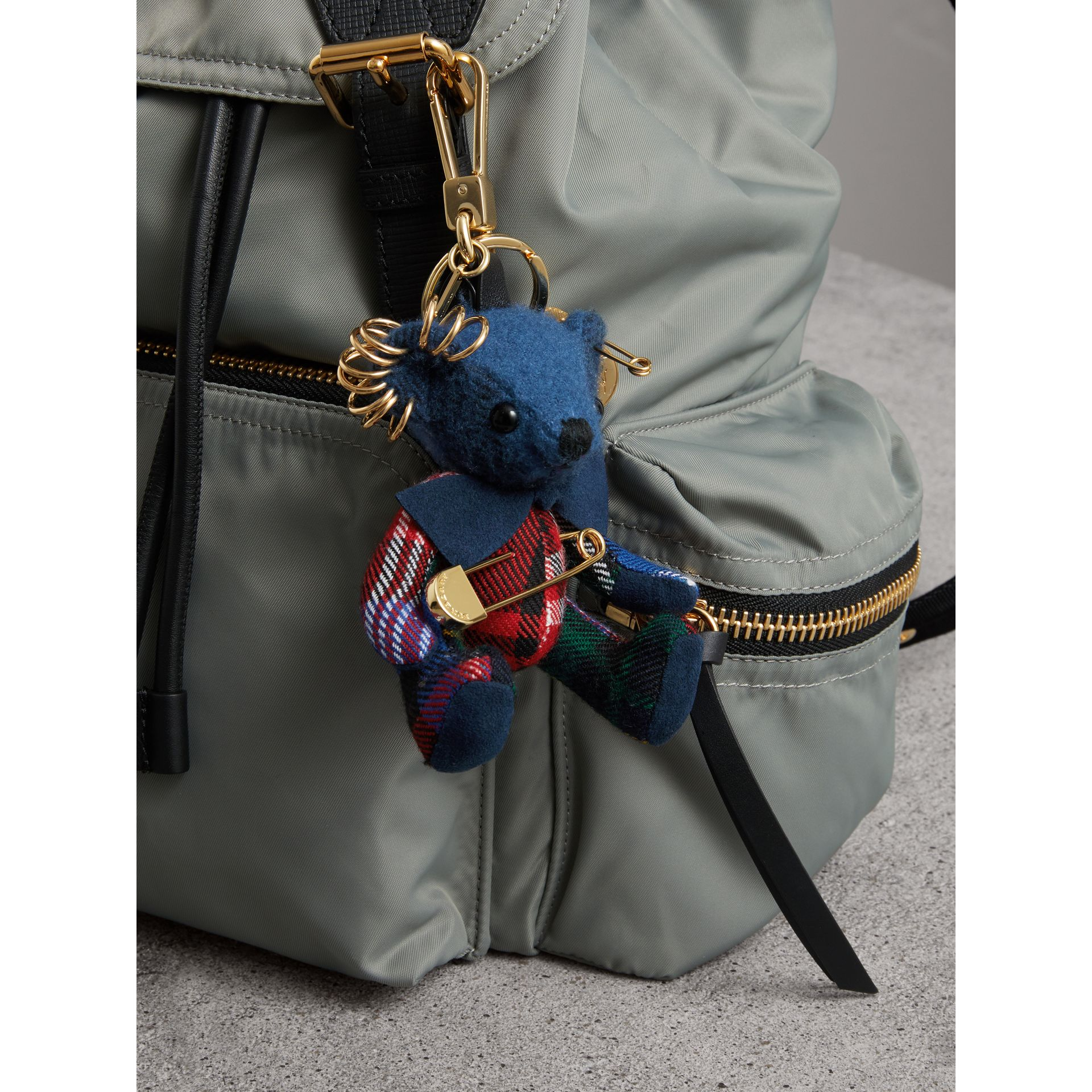 Thomas Bear Charm with Kilt Pin in Cadet Blue | Burberry Australia - gallery image 2