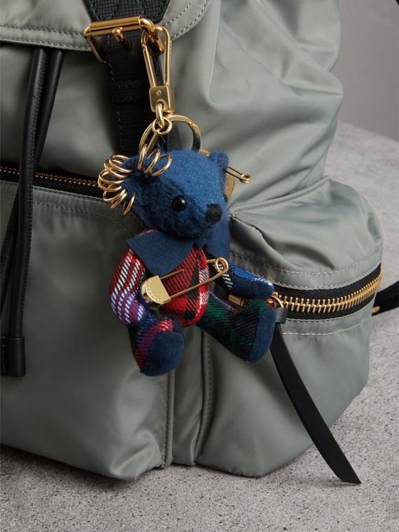 Thomas Bear Charm with Kilt Pin in Cadet Blue | Burberry United Kingdom - cell image 2