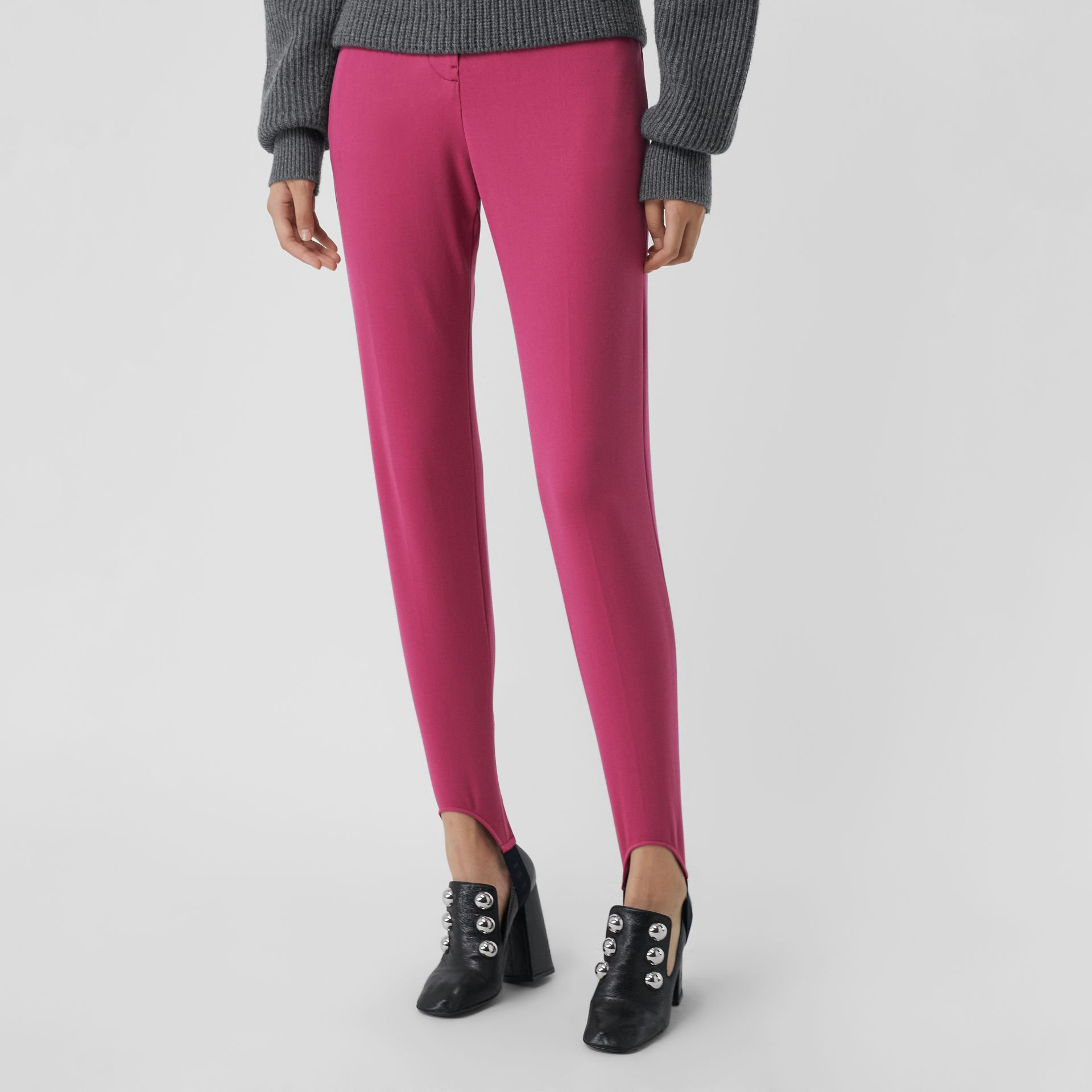 Cotton Blend Tailored Jodhpurs in Plum Pink - Women | Burberry - gallery image 5