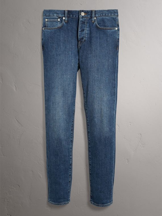 Relaxed Fit Japanese Stretch Denim Jeans in Mid Indigo - Men | Burberry - cell image 3