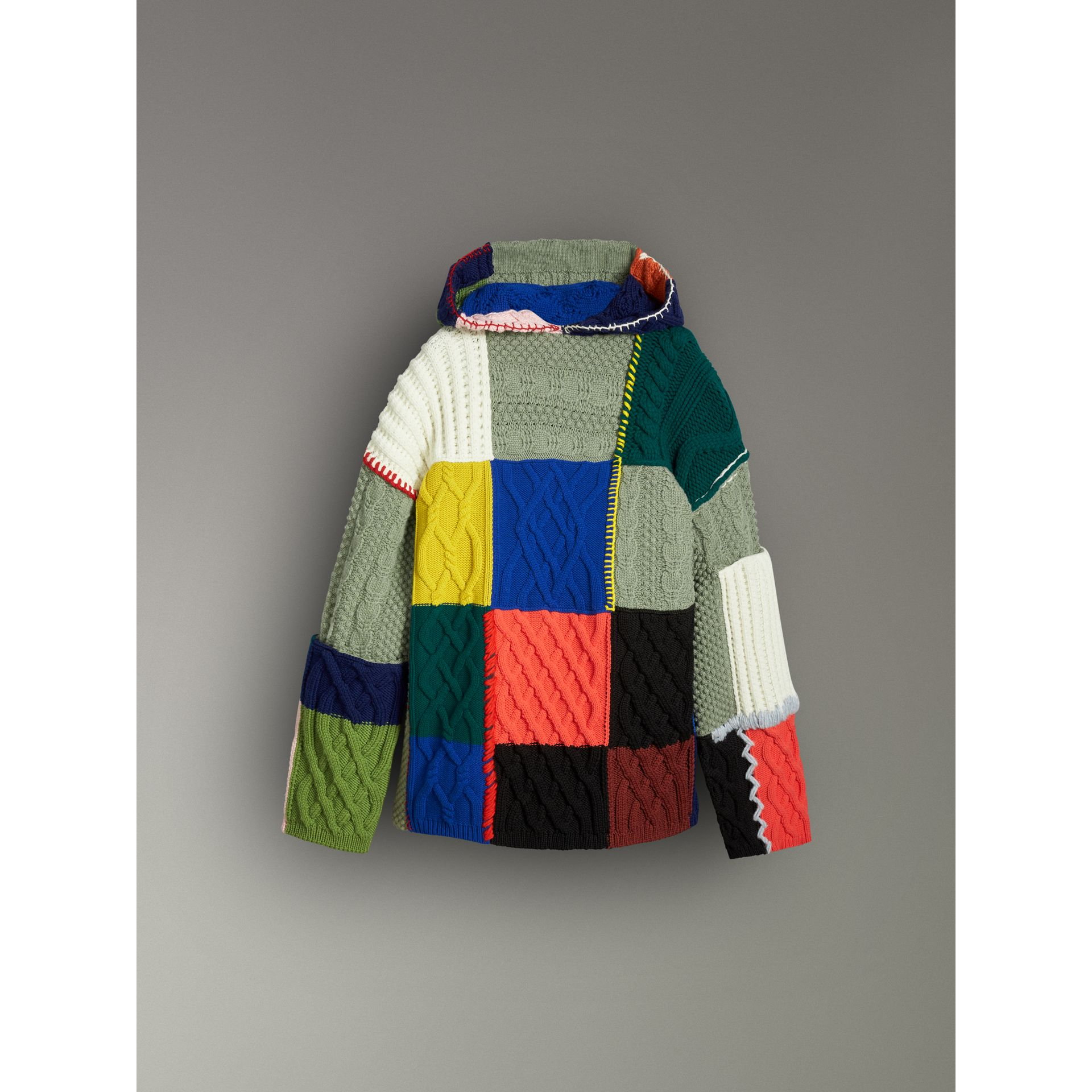 Wool and Cashmere Blend Patchwork Hoodie in Multicolour - Women | Burberry - gallery image 3
