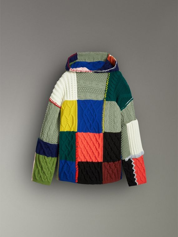 Wool and Cashmere Blend Patchwork Hoodie in Multicolour - Women | Burberry - cell image 3