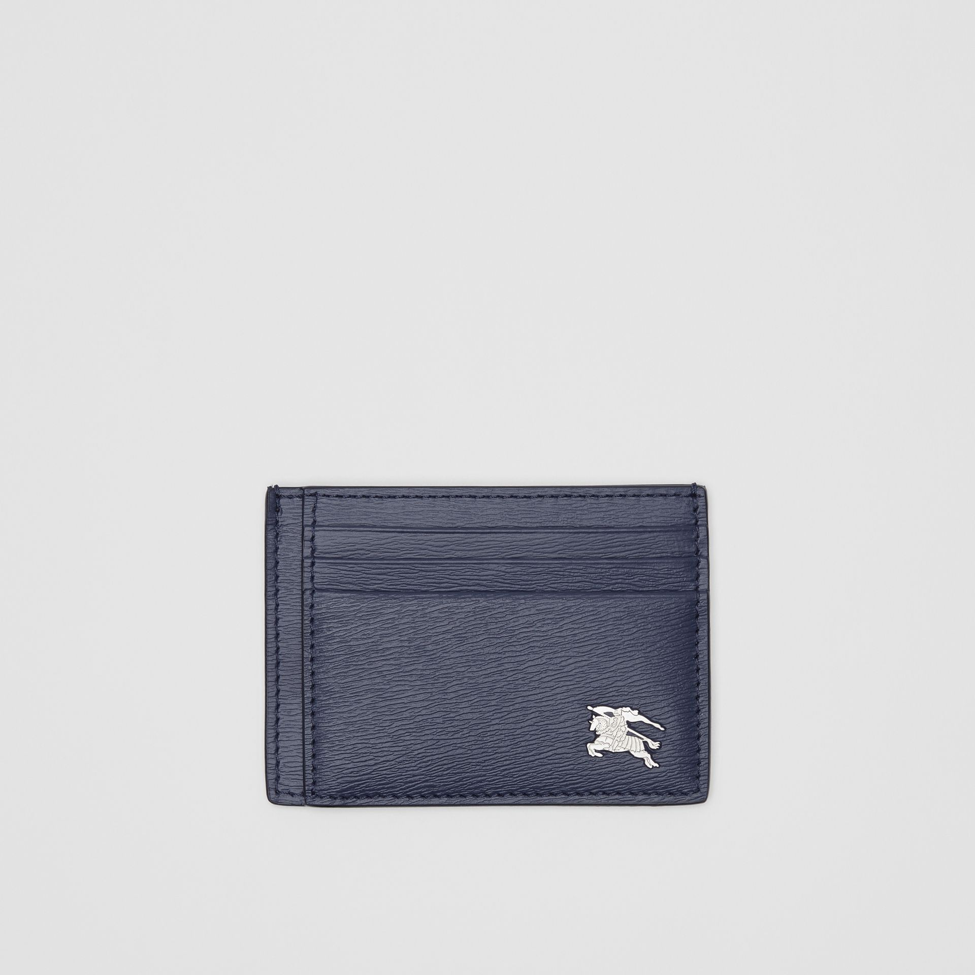 Grainy Leather Card Case in Navy - Men | Burberry - gallery image 0