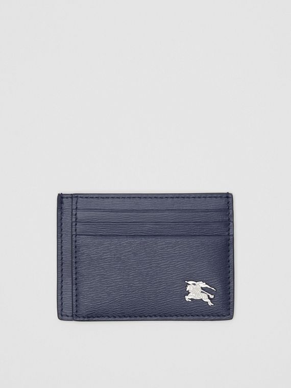 Grainy Leather Card Case in Navy